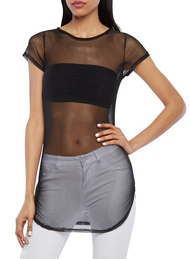 Sheer Mesh Tunic Top with Short Sleeves,BLACK,large