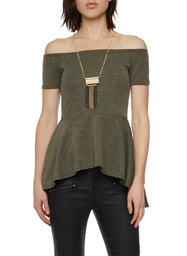 Off the Shoulder Top with Peplum Hem and Necklace,OLIVE,large