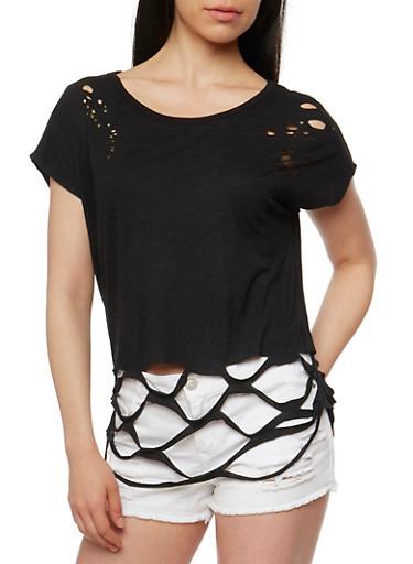 Short Sleeve Lasercut T Shirt,BLACK,large