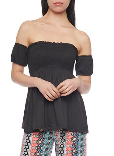 Smocked Off The Shoulder Babydoll Top,BLACK,large