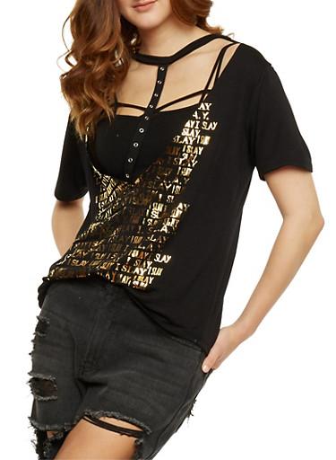 Short Sleeve Slay Graphic Plunging V Neck Top,BLACK,large