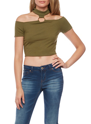 O Ring Choker Neck Crop Top in Ribbed Knit,OLIVE,large