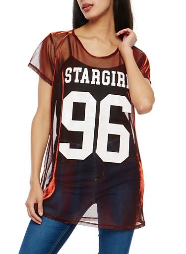 Stargirl Graphic Metallic Mesh Tunic Top,BURGUNDY,large