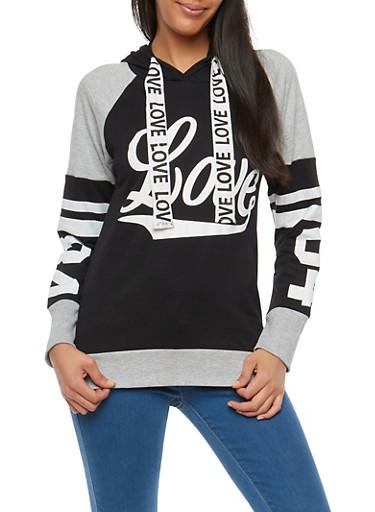 Love Graphic Hooded Sweatshirt,BLACK,large