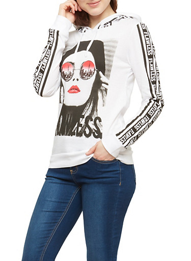 Flawless Graphic Pullover Hoodie,WHITE,large
