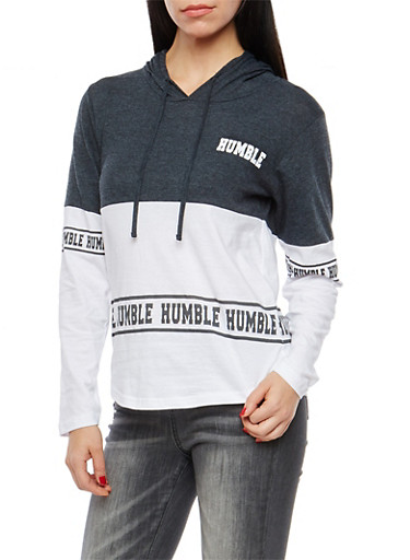 Color Block Humble Graphic Hooded Top,CHARCOAL,large