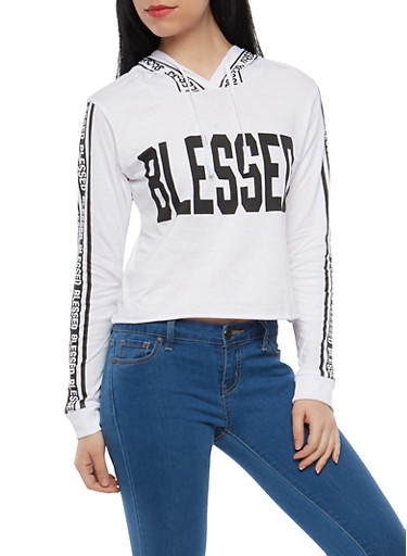 Blessed Graphic Hooded Top,WHITE,large