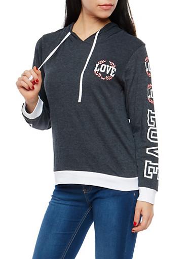 Love Graphic Hooded Sweatshirt,CHARCOAL,large
