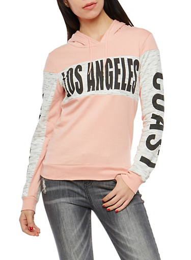 Fleece Lined Los Angeles Graphic Hooded Sweatshirt,MAUVE,large
