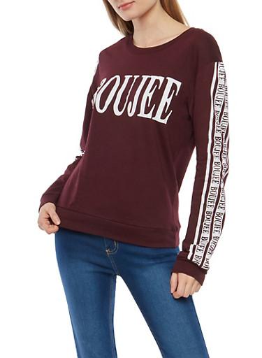 Boujee Graphic Long Sleeve T Shirt,PLUM,large