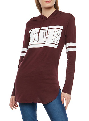 Love Graphic Hooded Top,PLUM,large
