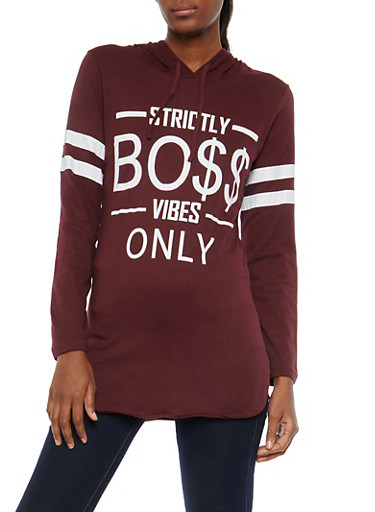 Boss Vibes Graphic Hooded Sweatshirt,PLUM,large
