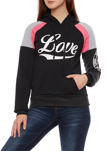 Fleece Hoodie with Love Graphics,BLACK,large