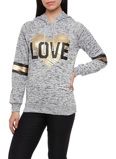 Graphic Hoodie with Love Print,HEATHER,large