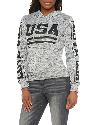 Marled Hoodie with USA Graphic,WHT-BLK,large
