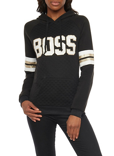 Quilted Hoodie with Boss Graphic,BLACK,large