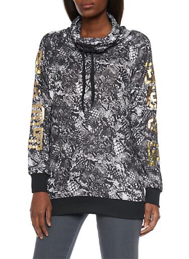 Funnel Neck Sweatshirt with Love Foil Print,BLACK/WHITE,large