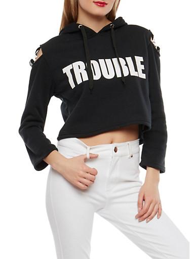 Trouble Maker Graphic Cold Shoulder Sweatshirt,BLACK,large