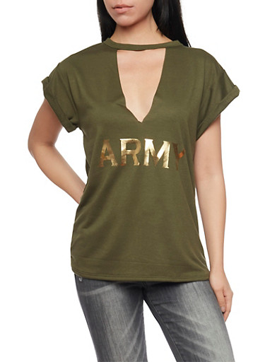 Cutout Top with Choker Collar and Army Graphic,OLIVE,large