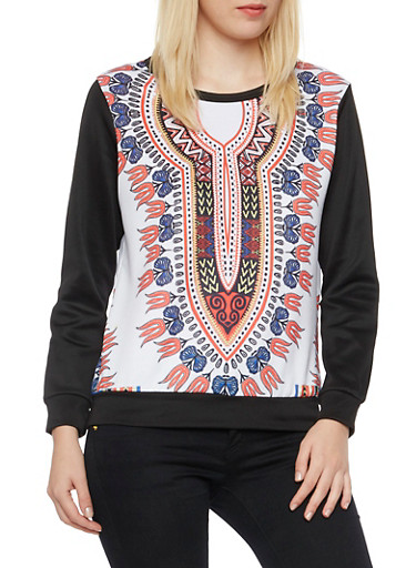 Neoprene Sweatshirt in Dashiki Print,RED/BLK,large