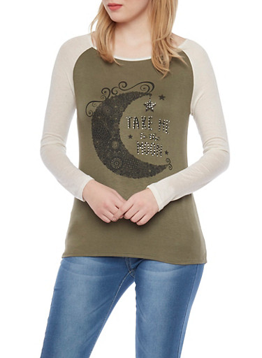 Long Sleeve Raglan Top with Take me to the Moon Graphic,OLIVE/OATMEAL,large