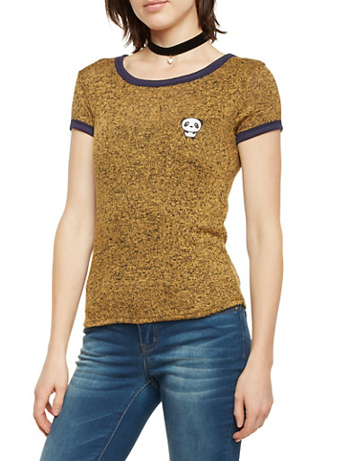 Embroidered Ringer Tee in Marled Knit,MUSTARD,large