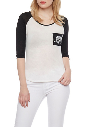 Three Quarter Sleeve Raglan Top with Elephant Graphic,IVY/BLACK,large