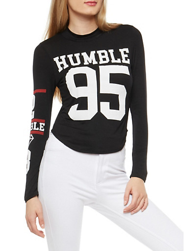 Long Sleeve Humble Graphic Top,BLACK,large