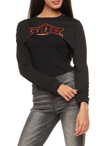 Graphic Open Front Sweatshirt,BLACK,large