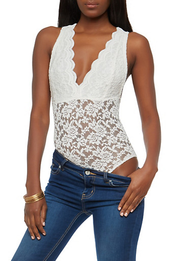 All Over Lace Plunge Bodysuit,IVORY,large