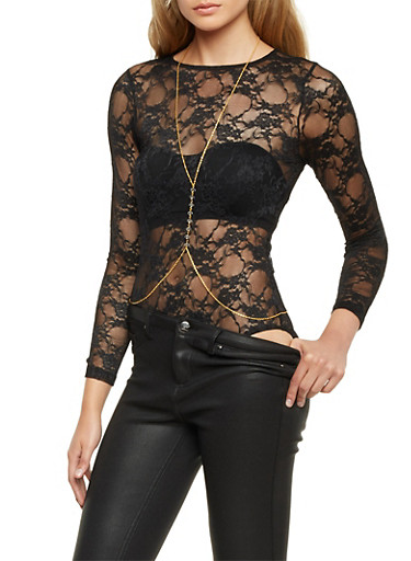 Lace Bodysuit with Removable Bodychain Necklace,BLACK,large