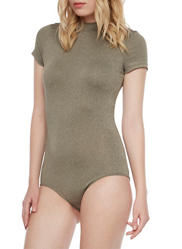 Mock Neck Bodysuit with Lace Up Back,OLIVE,large