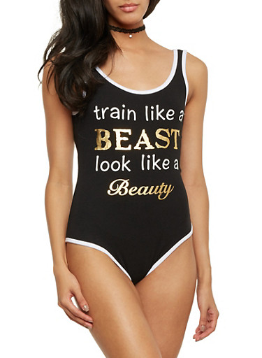 Bodysuit with Train Like a Beast Graphic,BLACK/WHITE,large