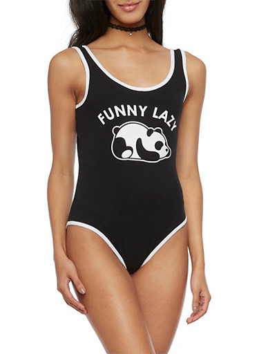 Sleeveless Bodysuit with Funny Lazy Panda Graphic,BLACK/WHITE,large