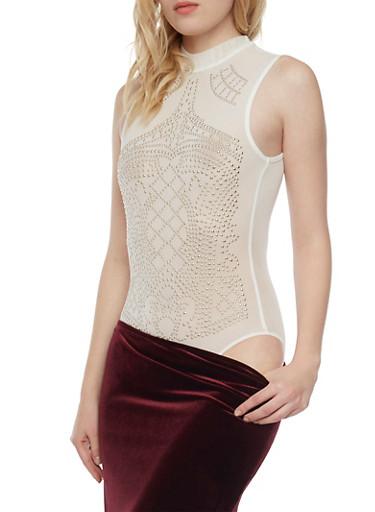 Sleeveless Mesh Bodysuit with Studs,WHITE,large