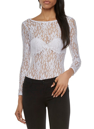 Sheer Lace Bodysuit with Long Sleeves,WHITE,large