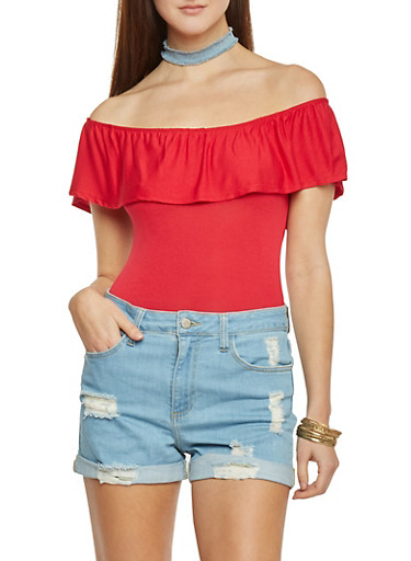 Off The Shoulder Ruffle Top Bodysuit with Snap Closure,RED,large