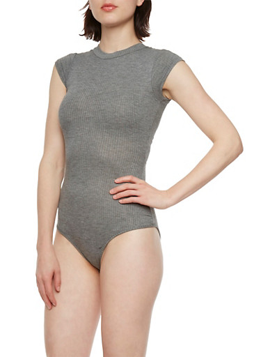 Rib-Knit Bodysuit with Crew Neck,CHARCOAL,large
