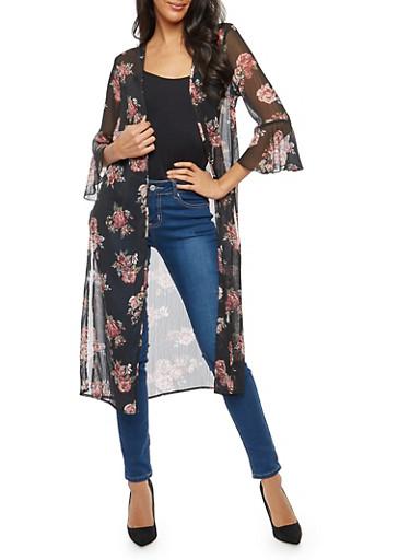 Sheer Floral Bell Sleeve Duster,BLACK,large