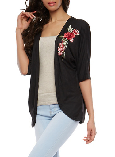 Soft Knit Floral Applique Kimono,BLACK,large