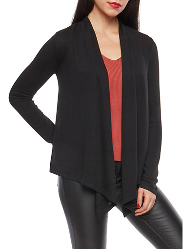 Open Front Flyaway Cardigan,BLACK,large