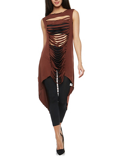 Slashed High Low Maxi Top,BROWN,large