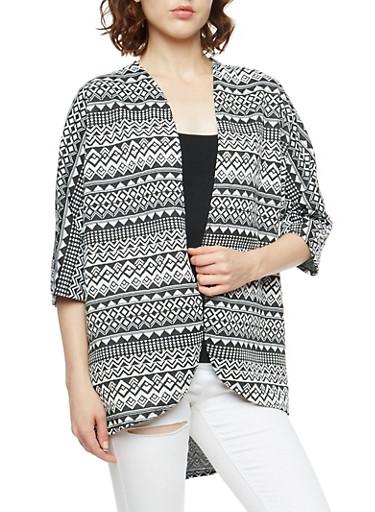 Aztec Print Dolman Sleeve Cardigan,BLACK/WHITE,large