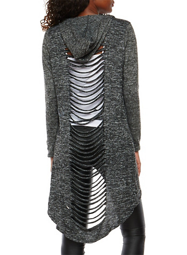 Laser Cut Back Hooded Duster,CHARCOAL,large