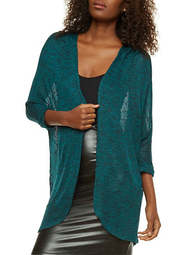 Two Tone Knit Cardigan,JADE/BLK,large