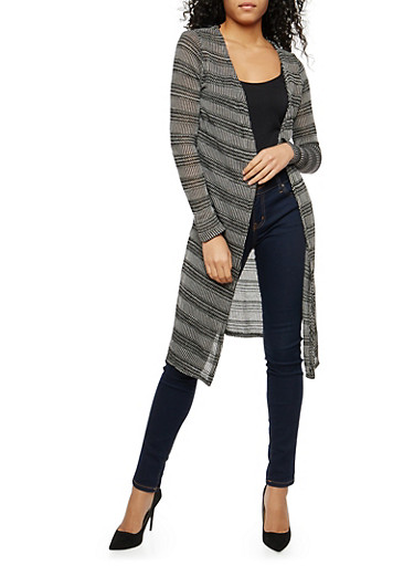 Striped Open Front Thermal Duster,BLACK,large