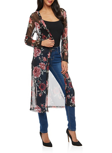 Floral Mesh Duster,BLACK,large