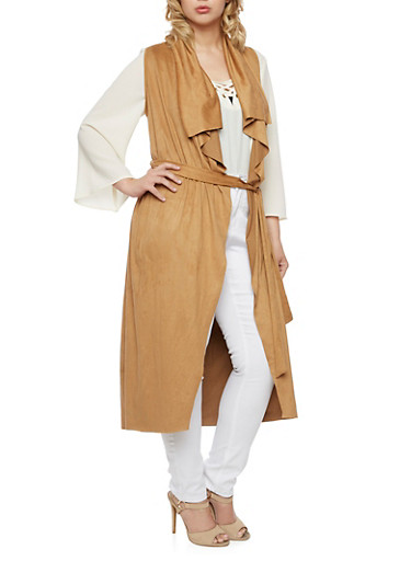 Belted Duster in Faux Suede,CAMEL,large