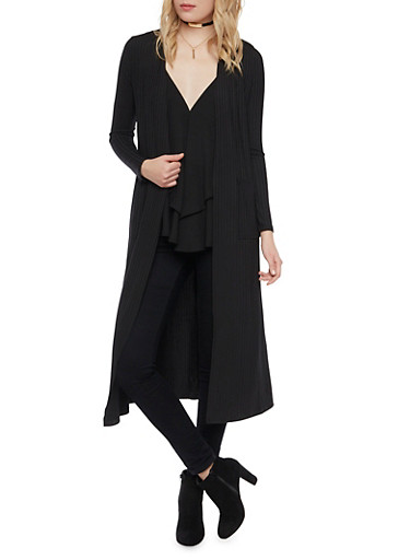 Ribbed Duster with Long Sleeves,BLACK,large