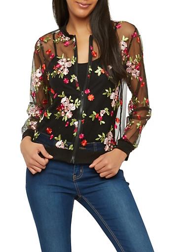 Floral Embroidered Mesh Bomber Jacket,BLACK,large